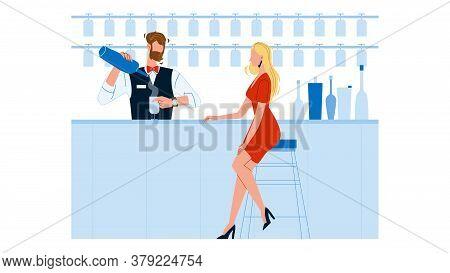Bartender Expert Making Cocktail For Woman Vector