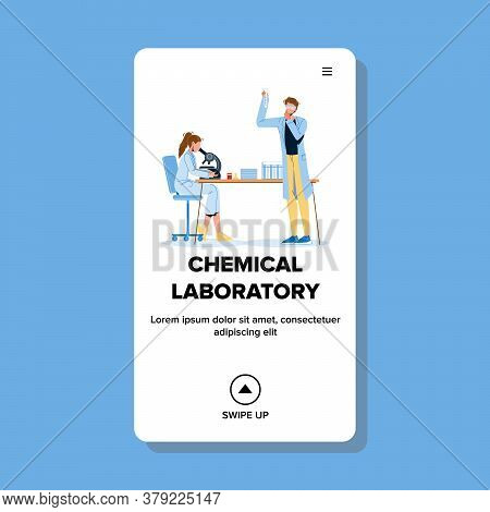 Chemists Working In Chemical Laboratory Vector Illustration