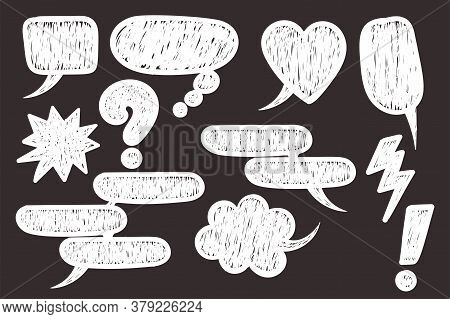 Comic Text Speech Bubble Pop Art Style. Set White Cloud Talk Speech Bubble. Isolated White Speech Bu