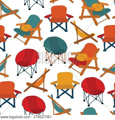 Chairs Seamless Vector Pattern. Repeating Background Camping Picnic Patio Chairs. Different Types Of