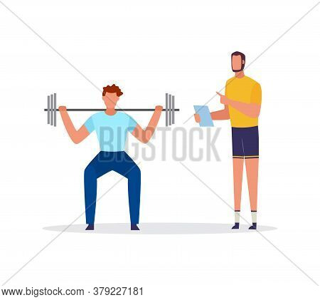 Sportsman Training With Personal Coach Flat Vector Illustration Isolated.