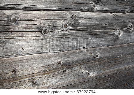Rustic Ancient Log Wall
