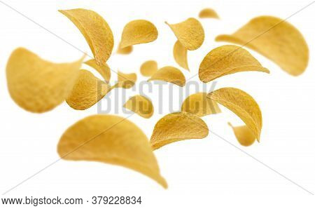 Potato Chips Levitate On A White Background