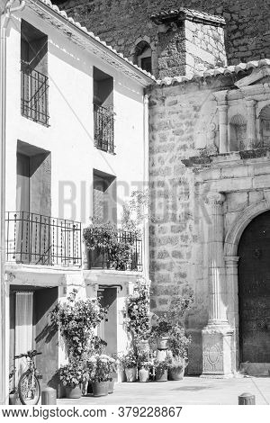 Aras De Los Olmos, Spain - June 29, 2020: View From The Empty Streets Of The Village In Summer After