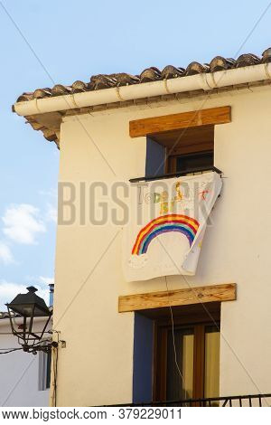 Aras De Los Olmos, Spain - June 29, 2020: View Of Support Banner Above The Empty Streets Of The Vill