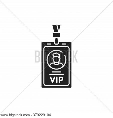 Vip Pass Glyph Black Icon. Id Badge. Premium Card For Enter Premium Membership. Button For Web Or Mo
