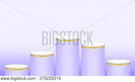 Purple Soft Pedestal Cylinder 5 Steps For Cosmetics Showcase, Podium Stage Purple Pastel Soft Color,
