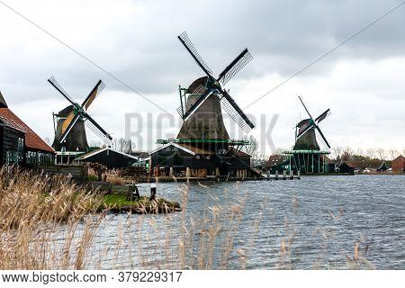 Zaandam, The Netherlands - December 10, 2009: Zaanse Schans - An Open Air Museum In The Town Of Zaan
