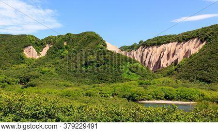 Pumice Rock Outcrops Near River. Kutkhins Baht, Kronotsky Reserve, Kamchatka, Russia
