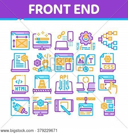 Front End Development Collection Icons Set Vector. Front End It Sphere, Html And Css Code, Internet