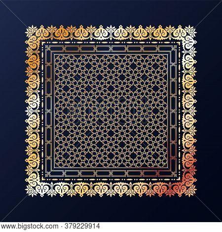 Arabic Style Golden Ornamental Vector Pattern On Black Background.