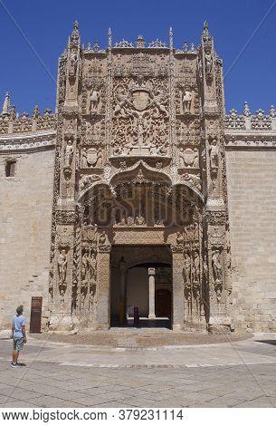 Valladolid, Spain - July 18th, 2020: Colegio De San Gregorio Main Facade. Isabelline Style Building