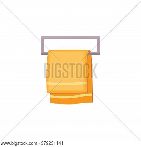 Clean Yellow Towel Hanging On Metal Rail Fixture Isolated On White Background
