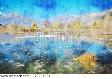 Abstract Painting Of Lake And Trees In Autumn, Nature Landscape Image, Digital Watercolor Illustrati