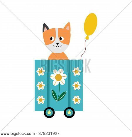Cute Baby Fox Sitting On Locomotive Wagon With Yellow Balloon