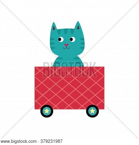 Blue Cartoon Cat Sitting In Pink Locomotive Train Wagon And Smiling