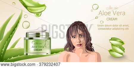 Aloe Vera Cream For Skin Care. Bare Brunette Woman Advertising. Aloe Background
