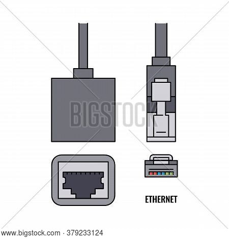 Ethernet Wire Computer Cable Icon Sketch Cartoon Vector Illustration Isolated.