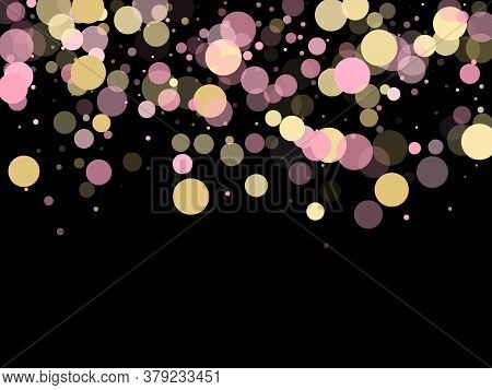 Pink Gold Confetti Circle Decoration For Party Invitation Card. Bokeh Lights Effect Vector. Gold, Pi