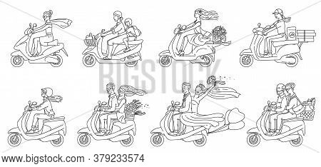 Cartoon People Riding Scooters - Flat Colorless Set Of Couples And Others