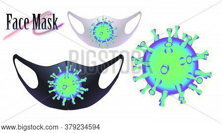 Design Template For Face Masks. Vector Illustration Of Coronovirus Concept. Figure Coronovirus Bacte