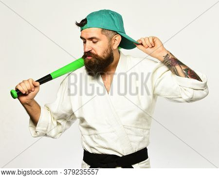 Gangster Gets Ready To Fight. Karate Man With Haughty Face