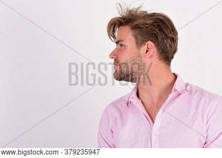 Guy With Bristle In Pink Shirt And Messy Hair