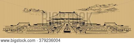 Palace Complex In Forbidden City In Central Beijing, Landmark Of China. Hand Drawn Vector Sketch Ill