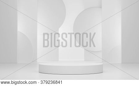 3d Rendering Geometric Forms. Blank Podium Display In White Marble Color. Minimalist Pedestal Or Sho