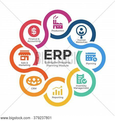 Enterprise Resource Planning (erp) Modules With Circle Cross Diagram Chart And Icon Sign Vector Desi