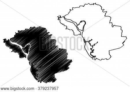 Bien Hoa City (socialist Republic Of Vietnam, Dong Nai Province) Map Vector Illustration, Scribble S