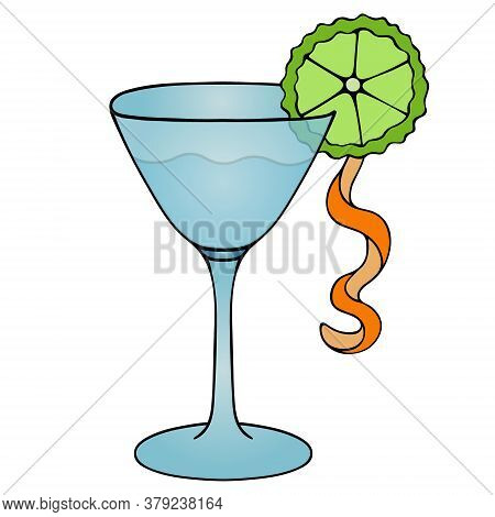 Martini. Glass With Alcoholic Drink.color Vector Illustration. Isolated White Background. Cartoon St