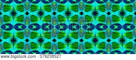 Geo Portugese Ikat Rapport. Watercolor Ethnic Design. Emerald And Turquoise Green Morocco Retro Text