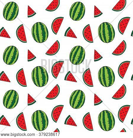 Vector Seamless Pattern Of Hand Drawn Doodle Sketch Watermelon Isolated On White Background