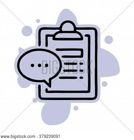 Questionnaire Clip Board And Speech Bubble Line Icon, Quiz Concept Logo, Consulting Services, Summar