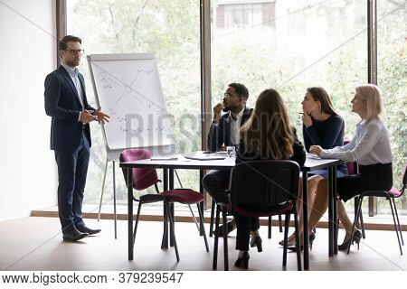 Businessman Makes Presentation For Investors During Group Meeting In Boardroom