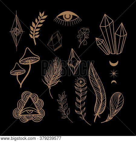 Esoteric Mystical Vector Elements. Thin Line Geometric Badge. Mystic And Magic Design With Crystals,