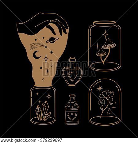 Esoteric Mystical Vector Elements For Flash Tattoo, Sticker, Patch Or Print