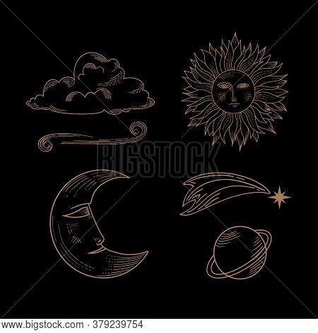Hand Drawn Set Of Celestial Bodies For Flash Tattoo, Sticker, Patch Or Print