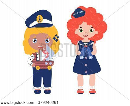 Two Best Friends Dream Of Adventure And Play Sailors. Girls In Sailor Clothes In 1950s Fashion Style