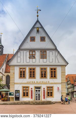 Celle, Germany - July 05, 2020: Front Facade Of The Historic Town Hall In Celle, Germany