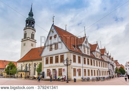 Celle, Germany - July 05, 2020: Historic Town Hall On The Market Square Of Celle, Germany