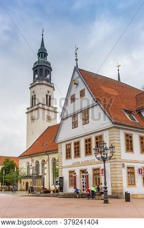 Celle, Germany - July 05, 2020: Town Hall And Church Tower In The Historic Center Of Celle, Germany