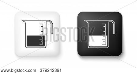 Black And White Measuring Cup To Measure Dry And Liquid Food Icon Isolated On White Background. Plas
