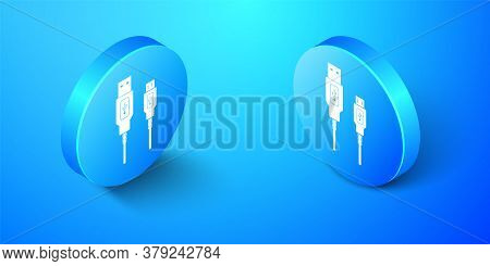 Isometric Usb Micro Cables Icon Isolated On Blue Background. Connectors And Sockets For Pc And Mobil