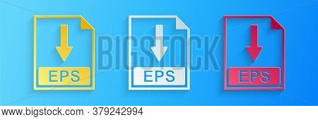 Paper Cut Eps File Document Icon. Download Eps Button Icon Isolated On Blue Background. Paper Art St