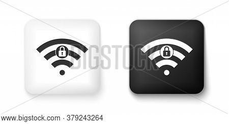 Black And White Wifi Locked Sign Icon Isolated On White Background. Password Wi-fi Symbol. Wireless