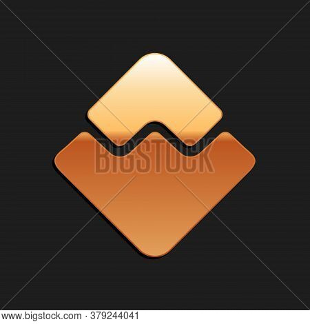 Gold Cryptocurrency Coin Waves Icon Isolated On Black Background. Physical Bit Coin. Digital Currenc