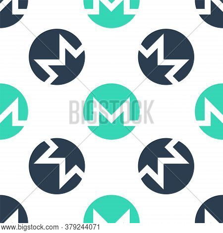 Green Cryptocurrency Coin Monero Xmr Icon Isolated Seamless Pattern On White Background. Digital Cur