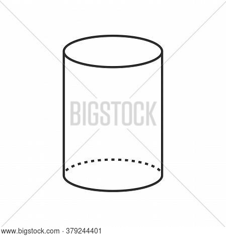 3d Cylinder With Simple Lines And Dots Geometric Shape.